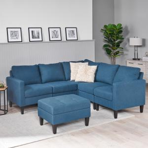 Noble House Fabric Sectional Couch with Storage Ottoman,Dark Blue