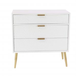 DecMode Rectangular White Wooden Cabinet with Gold Handles and Legs, 32″L x 32″H