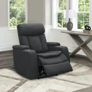 Devon & Claire Casper Fabric Power Theater Recliner, Charcoal