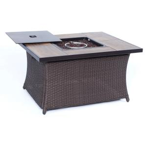 Hanover 40,000 BTU Woven Fire Pit Coffee Table with Woodgrain Tile Top and Burner Lid