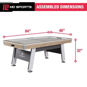 MD Sports 84″ Hinsdale Air Powered Hockey Table, LED Scorer, White/Tan