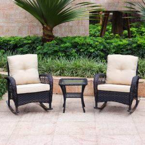 Abble 3PC WICKER ROCKING CONVERSATION SET- DARK BROWN