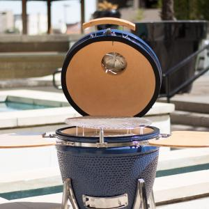Lifesmart 600 Square Inch Cooking Surface  Kamado Ceramic Grill & Smoker Value Bundle Includes Electric Starter and Grill Cover in Blue