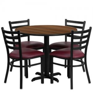 """Flash Furniture 36"""" Round Walnut Laminate Table Set with X-Base and 4 Ladder Back Metal Chairs – Burgundy Vinyl Seat"""