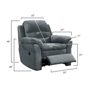 Felix Collection Contemporary Style Fabric Upholstered Living Room Electric Recliner Power Chair, Dark Grey