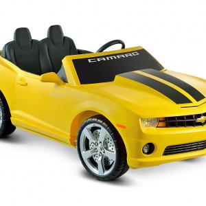 Kid Motorz Chevrolet Camaro 12-Volt Battery-Operated Ride-On, Yellow with Racing Stripes