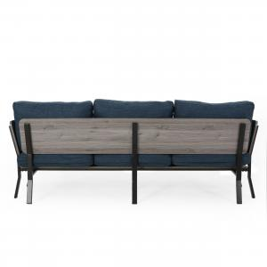 Noble House Zechariah Mid-Century Modern 3 Seater Wood Frame Sofa, Navy Blue, Gray, Black