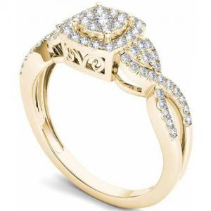 1/2 Carat T.W. Diamond Criss-Cross Shank Halo Cluster 10kt Yellow Gold Engagement Ring