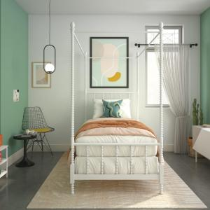 DHP Anika Metal Canopy Bed, Twin Size Frame, Bedroom Furniture, White
