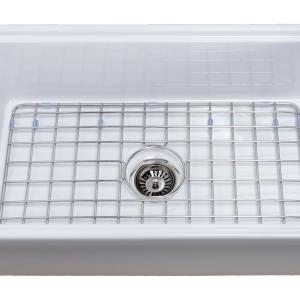 Tosca Farmhouse Fireclay 30″ Kitchen Sink with Grid, Cutting-Board and Strainer in White