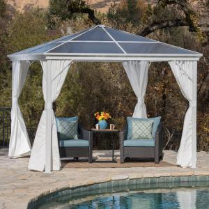 Gracie Outdoor 10 X 10 Foot Aluminum Framed Gazebo with Curtains and Hardtop, White, White