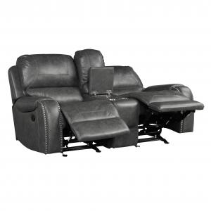 Achern Gray Leather-Air Nailhead Manual Reclining Loveseat with Storage Console