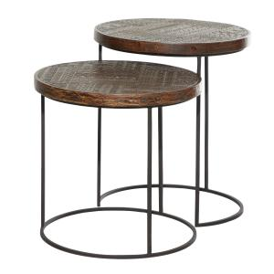 Venus Williams Collection 24″, 20″ Brown Mango Wood Contemporary Accent Table, Set of 2