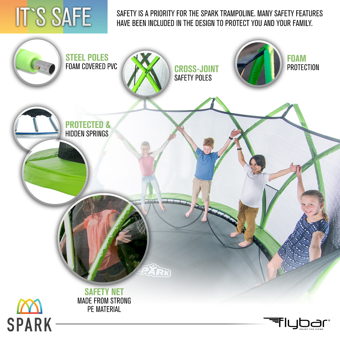 Spark 12-Foot Trampoline, with Safety Enclosure, Green