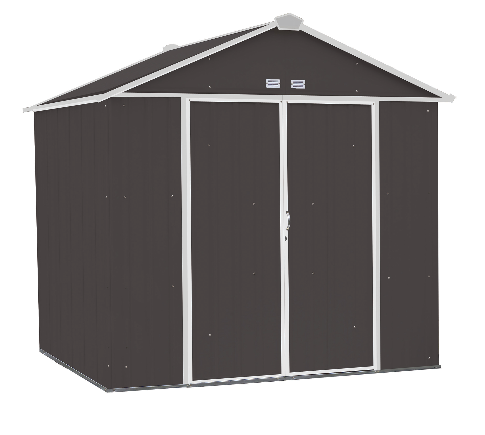 Steel Storage Shed 8 x 7 ft. Galvanized High Gable Charcoal/Cream Trim