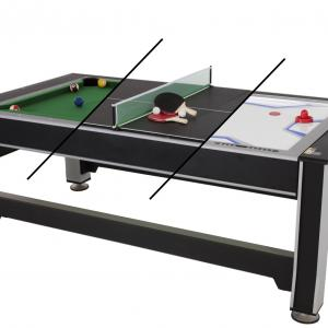 Triumph 3-in-1 Rotating Swivel Multigame Air Hockey, Billiards Pool, and Table Tennis Table