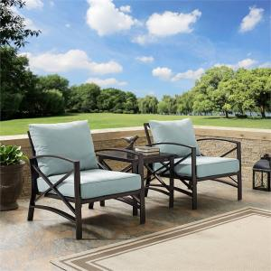 Crosley Furniture Kaplan 3 Pc Outdoor Seating Set With Mist Cushion – Two Chairs, Side Table
