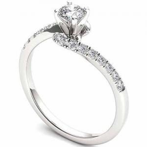 1/2 Carat T.W. Diamond Solitaire 14KT White Gold Engagement Ring