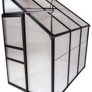 Ogrow® Aluminium Lean-To Greenhouse – 25 Sq. Ft. – With Sliding Door And Roof Vent- 6′ X 4′ X 7′