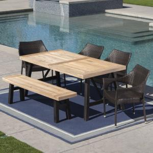 Danica Outdoor 6 Piece Acacia Wood Dining Set with Wicker Stacking Chairs, Brushed Grey, Brushed Mahogany, Multibrown