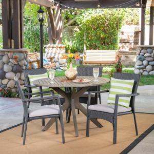 Jaxson Outdoor 5 Piece Wood and Wicker Dining Set with Cushions, Gray, Gray