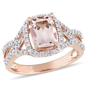 Tangelo 1-1/3 Carat T.G.W. Morganite and 1/6 Carat T.W. Diamond 10kt Rose Gold Halo Cocktail Ring