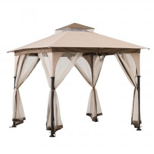 Sunjoy Shylah 9.5 ft. x 9.5 ft. Tan and Brown 2-tone Steel Gazebo with Mosquito Netting