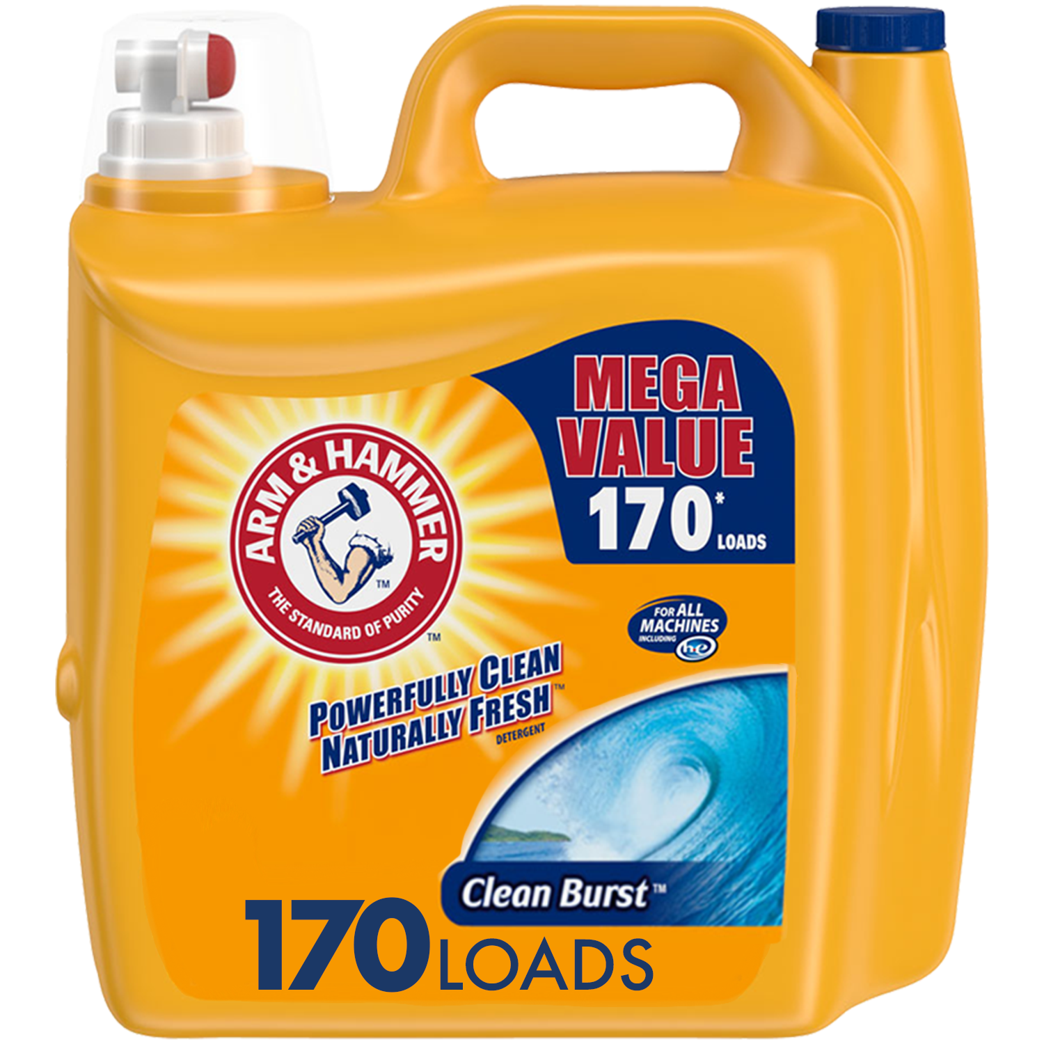 Arm & Hammer Clean Burst, 170 Loads Liquid Laundry Detergent, 255 Fl oz