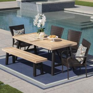 Bobby Outdoor 6 Piece Acacia Wood Dining Set with Wicker Stacking Chairs, Brushed Grey, Brushed Mahogany, Multibrown