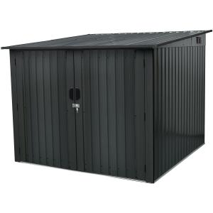 Hanover Galvanized Steel Bicycle Storage Shed with Sliding Bolt Lock for up to 4 Bikes, Dark Gray