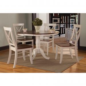 36″ Round Table with 4 X-back Chairs in Antiqued Almond/Espresso – Set of 5