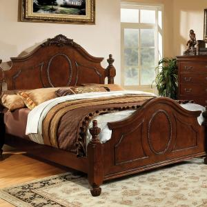 Furniture of America Marteena Wood Panel Bed, California King, Brown Cherry