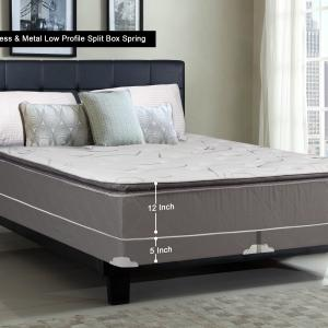 WAYTON, 12-inch Fully Assembled Soft Pillow Top Innerspring Mattress and 4-inch Split Metal Box Spring/foundation set, |Queen Size| Mink & White Color