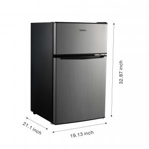 Galanz 3.1 Cu ft Two Door Mini Fridge with Freezer Estar GL31S5E, Stainless