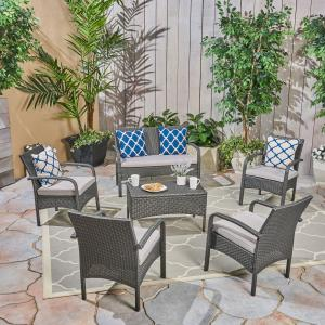 Brown Outdoor 6 Piece Wicker Conversation Set with Cushions, Gray, Silver
