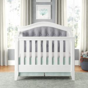 Magnolia Upholstered 4-in-1 Convertible Crib, White/Gray