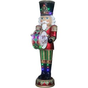 Fraser Hill Farm Indoor/Outdoor Oversized Christmas Decor, 6-Ft. Nutcracker Playing Bass Drum w/ Moving Hands, Music, Timer, and 32 LED Lights