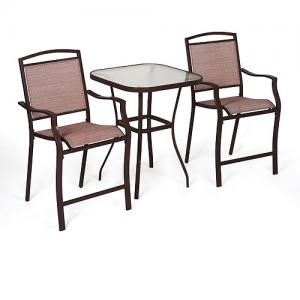 Mainstays Sand Dune 3-Piece Outdoor Bar Height Bistro Set for Patio and Porch, Tan