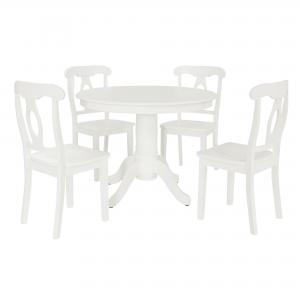 Aubrey 5-Piece Traditional Height Pedestal Dining Set, Multiple Colors – White