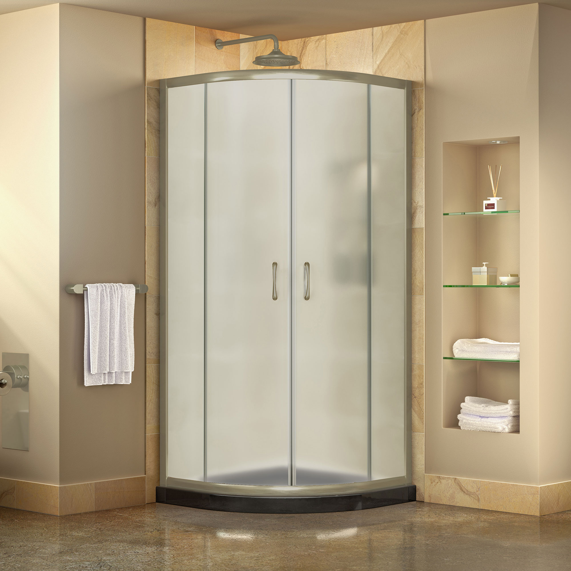 DreamLine Prime 33 in. x 74 3/4 in. Semi-Frameless Frosted Glass Sliding Shower Enclosure in Brushed Nickel with Black Base Kit