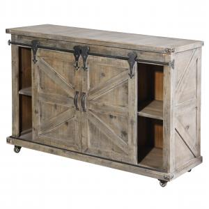 Presley Two Door, Two Drawer and Open Center Cabinet – Driftwood Grey