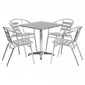 Flash Furniture Outdoor Patio Dining Set, Aluminum Table with 4 Chairs, Multiple Shapes and Sizes