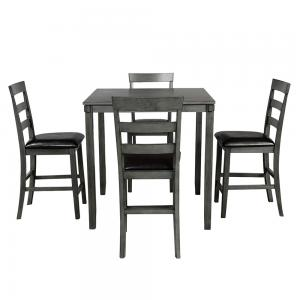 Hommoo Modern 5 Piece Dining Table Set, Wooden Square Counter Height Kitchen Table and 4 Chairs Set, Grey