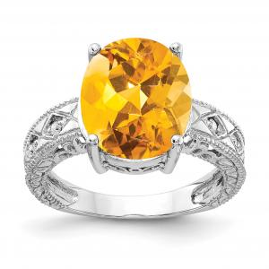 Primal Gold 14 Karat White Gold 12x10mm Oval Citrine and Diamond Ring