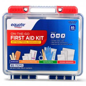 Equate On-The-Go First Aid Kit, 85 Items, 2 Pack