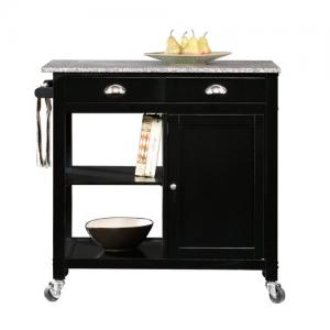 Better Homes & Gardens Black 35 Inch Tall Kitchen Cart with Granite Top, Casters