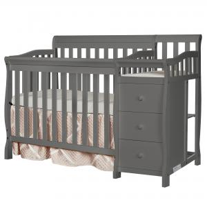 Dream On Me Jayden 4-in-1 Convertible Mini Crib and Changer, Storm Gray