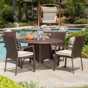 Phil 5 Piece Outdoor Round Wicker Dining Set, Multibrown