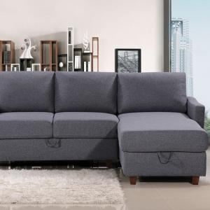 US Pride Furniture Royze Linen Fabric Reversible Sectional with Storage, Dark Gray