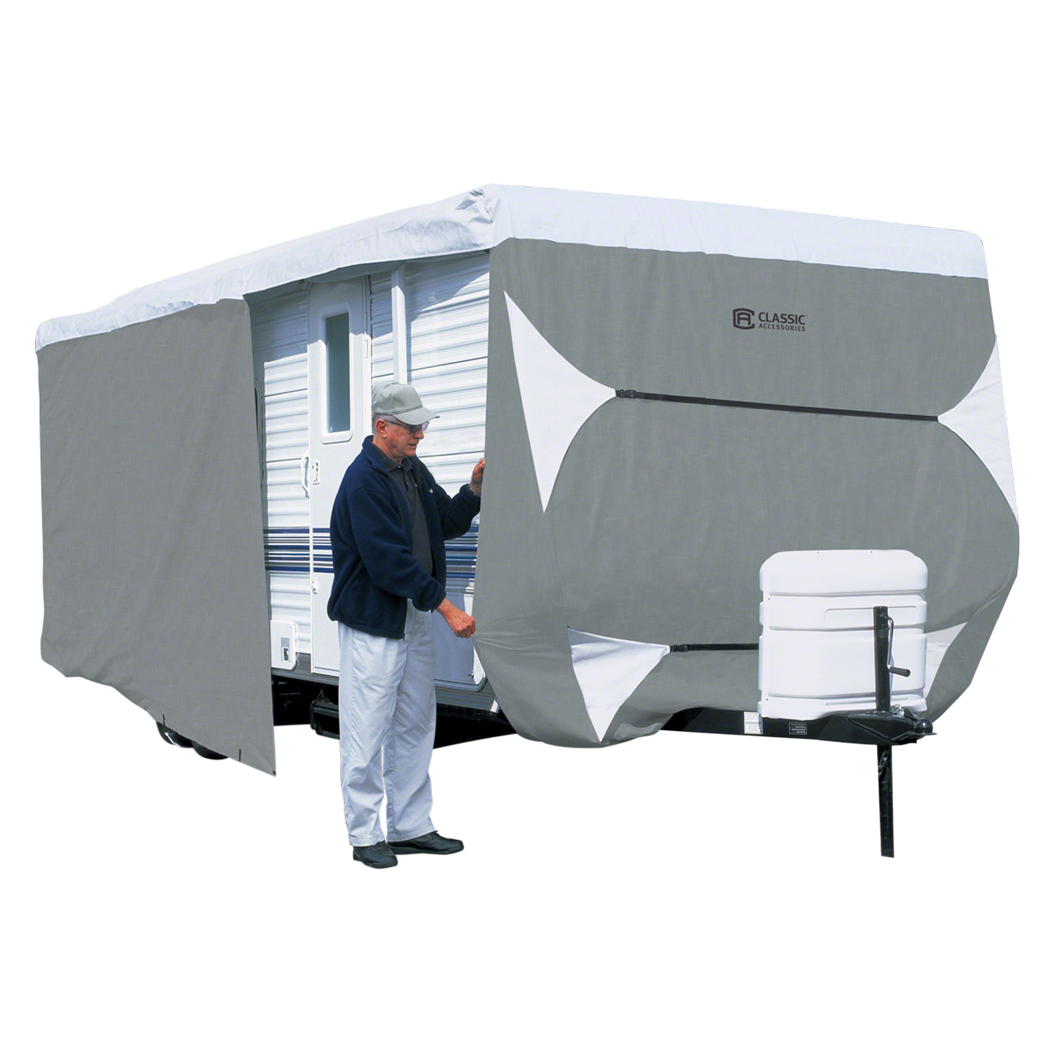 Classic Accessories Over Drive PolyPRO™3 Deluxe Travel Trailer Cover or Toy Hauler Cover, Fits 15′ – 18′ RVs